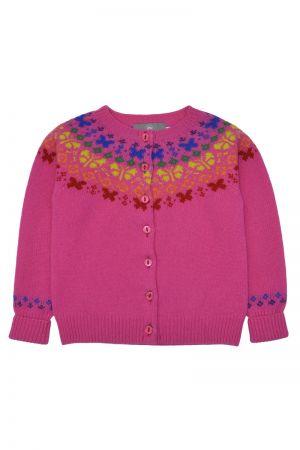Girls Butterfly Rainbow Fair isle Cardigan - Pink
