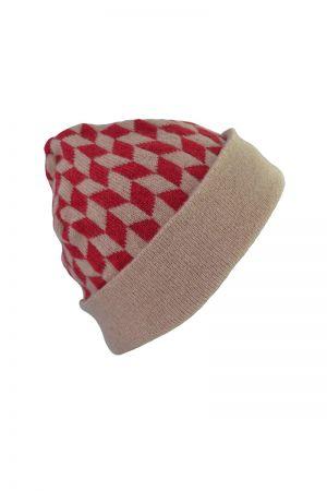 Graphic Chevron Beanie Hat - Red