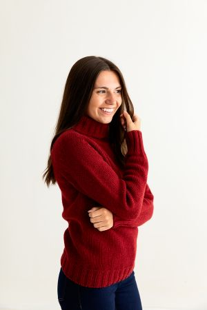 Womens Chunky Geelong Superfine Lambswool Polo Neck Jumper - Red