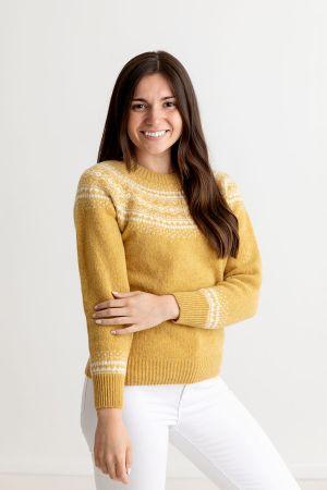 Womens Aviemore Yoke Fair Isle Jumper - Yellow