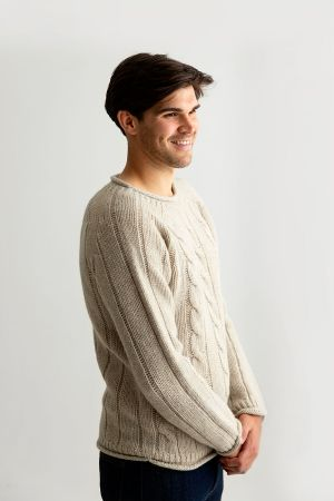 Mens Cable Front Roll Neck Tunic Jumper