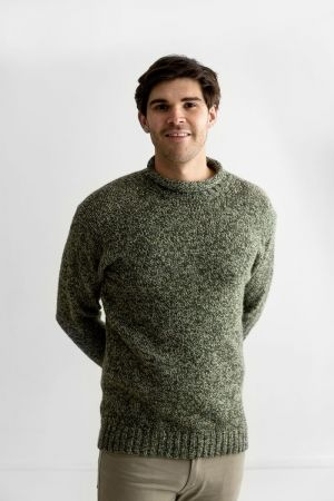 Mens Chunky Roll Neck Jumper - Forest