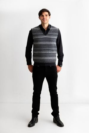 Mens Tweed Fair Isle V Neck Sleeveless Jumper - Charcoal Grey