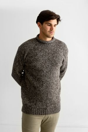 Mens Chunky Roll Neck Jumper - Natural brown