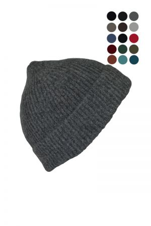 Lambswool Ribbed Beanie Hat