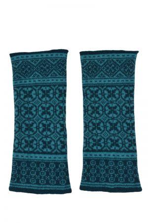 Rubislaw Fair isle wrist warmer fingerless gloves - Teal