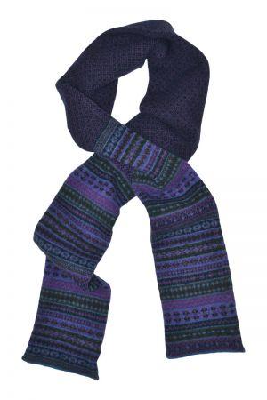 Tweed Fair isle scarf - Purple