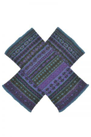 Tweed Fair isle wrist warmer fingerless gloves - Purple