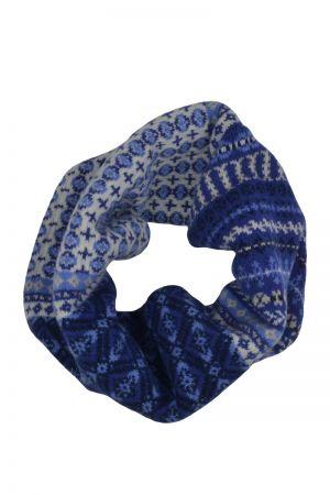 Ugie Fair isle cowl scarf - Blue