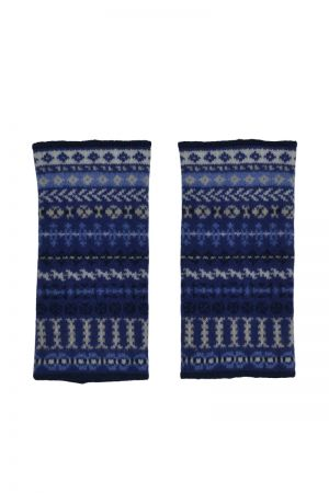 Ugie Fair isle wrist warmer fingerless gloves - Blue