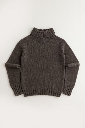 Womens Chunky Geelong Superfine Lambswool Polo Neck Jumper - Brown