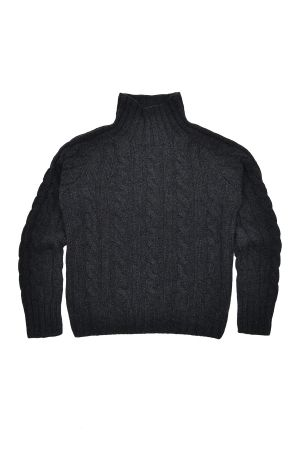 Womens Chunky Geelong Lambswool Cable Mock Neck Jumper - Charcoal