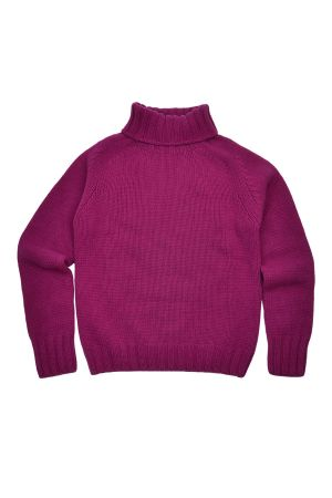 Womens Chunky Geelong Superfine Lambswool Polo Neck Jumper - Pink