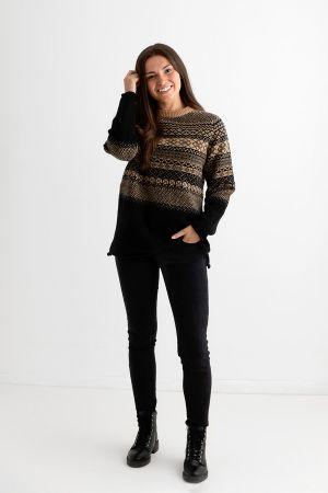 Womens Lace Fair Isle Tunic Jumper - Black