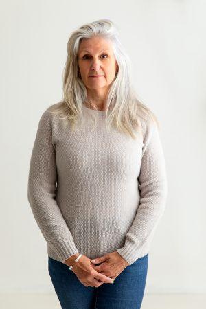 Womens Geelong Superfine Lambswool Moss Stitch Jumper - Agate
