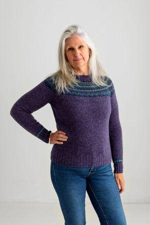 Womens Lido yoke fair isle jumper - Purple