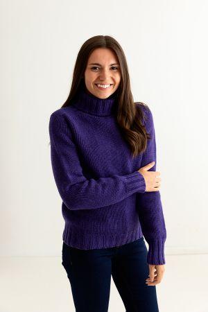 Womens Chunky Geelong Superfine Lambswool Polo Neck Jumper - Purple