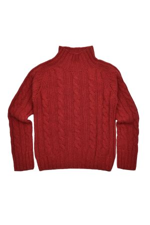 Womens Chunky Geelong Lambswool Cable Mock Neck Jumper - Red