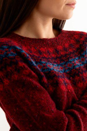Womens Croft Yoke Fair Isle Jumper - red