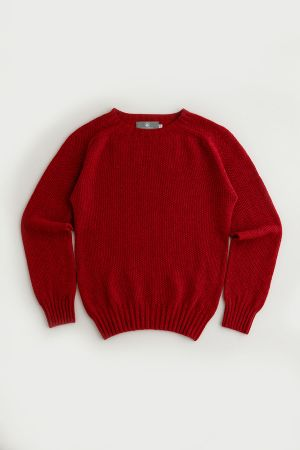 Womens Geelong Superfine Lambswool Moss Stitch Jumper - Red