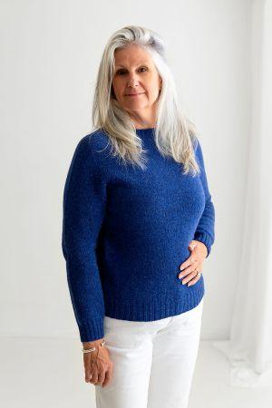 Womens Seamless Saddle Shoulder Shetland Jumper - Royal Blue