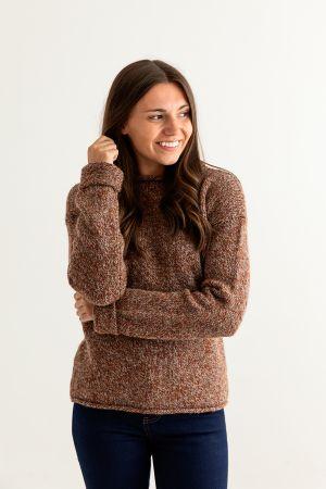 Womens Chunky cuffed jumper - Autumn marl