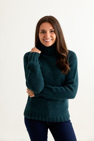 Womens Chunky Geelong Superfine Lambswool Polo Neck Jumper - Teal