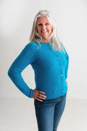Womens Geelong Superfine Lambswool Gansey Cardigan - Turquoise